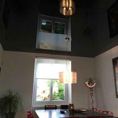 plafond tendu rénovation de salle à manger
